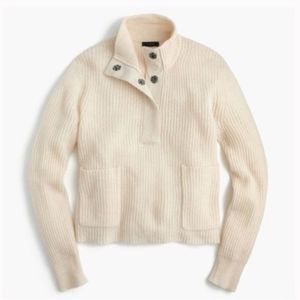 J. Crew Ivory 3 Button Popover Wool knit Sweater